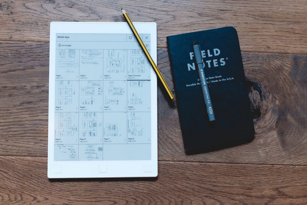 Remarkable tablet shown with Noris Digital pencil & Field Notes notepad.